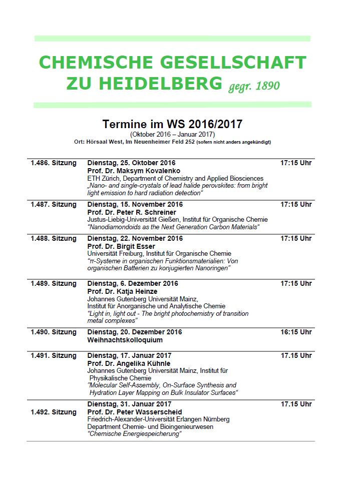 Chemische Gesellschaft zu Heidelberg Programm WS1617